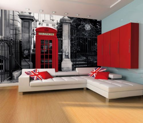 GIANT WALLPAPER WALL MURAL LONDON TELEPHONE BOX VINTAGE BRITISH THEME DESIGN